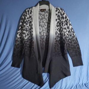 Black & Grey Ocelot Print Open Cardigan